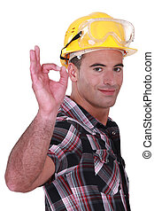 Construction worker giving the go-ahead