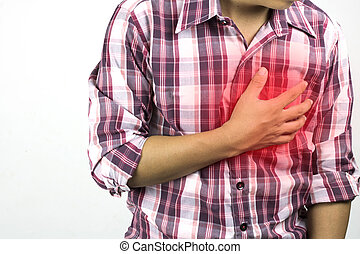 construction worker has suffering from chest pain, severe heart ache, attack  on white background, concept as healtcare,  disease and save