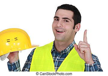 Construction worker having an idea