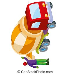 construction worker helping a concrete mixer to pour out prepared concrete, cartoon illustration, isolated object on white background, vector illustration,