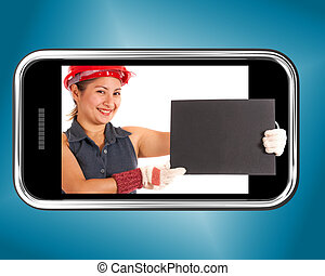 Construction Worker Holding Blank Board On Mobile Phone