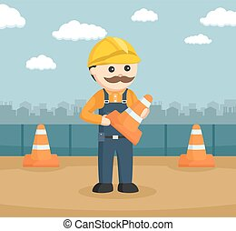 construction worker holding construction cones