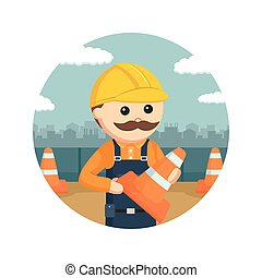 construction worker holding construction cones in circle background