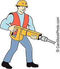 Construction Worker Holding Jackhammer Cartoon