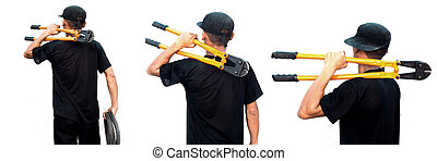 Construction worker holding steel cutter