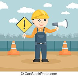 construction worker holding warning sign and megaphone