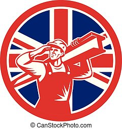 Icon retro style illustration of a British construction worker carrying an I-beam on shoulder while saluting with United Kingdom UK, Great Britain Union Jack flag set in circle isolated background.
