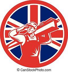 construction worker i beam CIRC UK-FLAG-ICON - Icon retro ...
