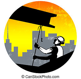 Illustration of construction worker pulling i-beam girder with hook done in retro style.