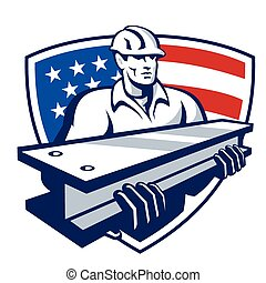 construction-worker-i-beam-shield - Illustration of a...