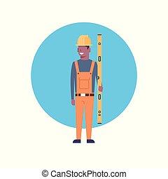 Construction Worker Icon African American Builder Man Wearing Helmet