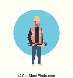 Construction Worker Icon Builder Man Wearing Helmet Flat...