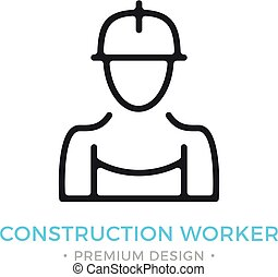 Construction worker icon. Human silhouette with overall and hard hat, contractor, builder concepts. Stroke, outline, linear, line style. Vector thin line icon