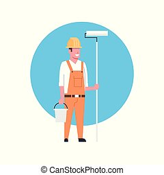 Construction Worker Icon Painter Or Decorator Man Wearing...