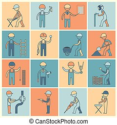 Construction worker icons flat line