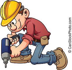 Construction worker - Cartoon construction worker drilling a...