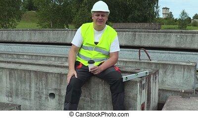 Construction worker in coffee break