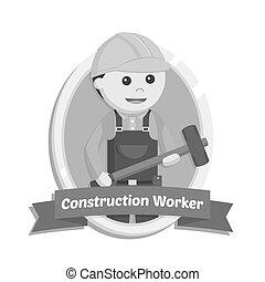 Construction worker in emblem