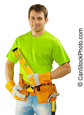 construction worker in green t-shirt