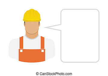 Construction worker in hard hat - Vector Illustration