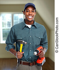 Construction worker in new house.