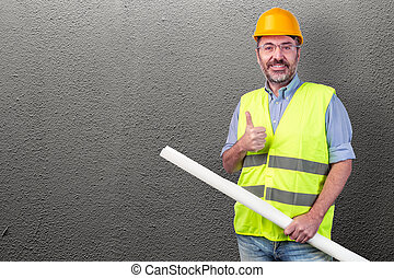 construction worker isolated on a grey background