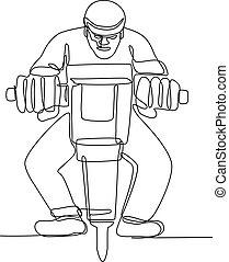 Construction Worker Jackhammer Continuous Line - Continuous...