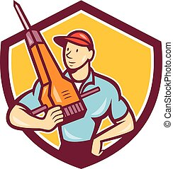 Construction Worker Jackhammer Shield Cartoon