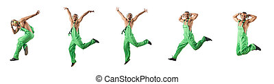Construction worker jumping and dancing