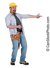 Construction worker laughing at something