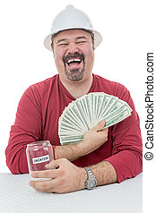 Construction worker laughing with vacations money