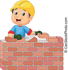 Construction worker laying bricks - vector illustration of...