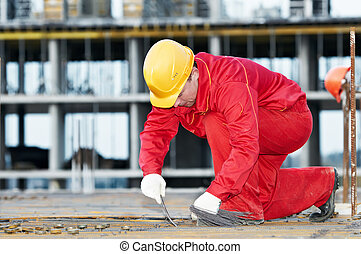 construction worker making reinforcement - builder worker ...
