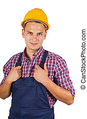 Construction worker on isolated