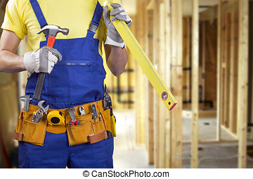 construction worker on new house building process with copy space