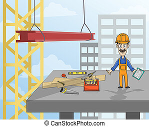 Highrise building construction worker with instruments standing on concrete platform vector illustration