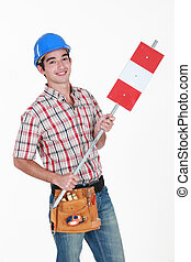 Construction worker on white background