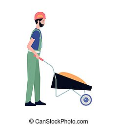 Construction worker or builder with hand truck flat vector illustration isolated.