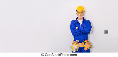 construction worker or professional isolated on white wall