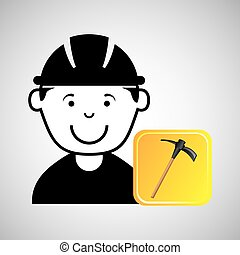construction worker pick axe graphic