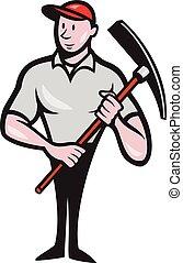 Construction Worker Pickaxe Cartoon
