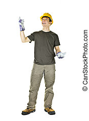 Construction worker pointing up