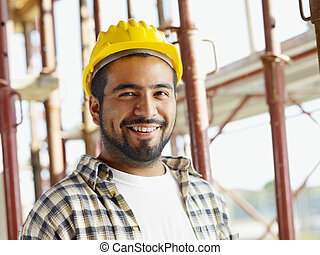 Construction worker - portrait of latin american...