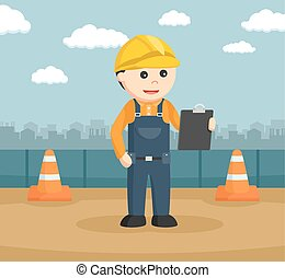 construction worker reading clipboard