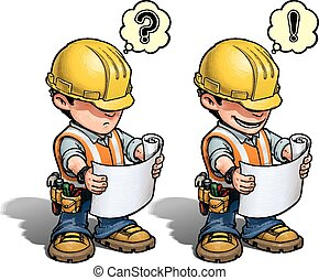 Cartoon illustration of a construction worker reading a blueprint. Weather he understands what to do next or not is up to YOU!!! EPS 10 with transparencies and a 30 Mpxl Q10 JPEG preview. Enjoy!