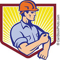 Construction Worker Rolling Up Sleeve Retro - Illustration...