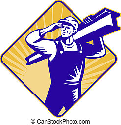 illustration of a construction worker saluting carrying i-beam facing front set inside diamond with sunburst on isolated background done in retro style