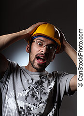 Construction worker screaming