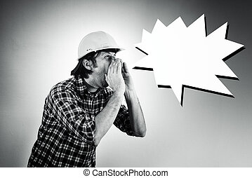 Construction worker shouting