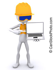 Construction worker showing laptop